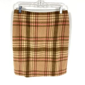 Talbots Beige Pink Wool Blend Plaid Skirt